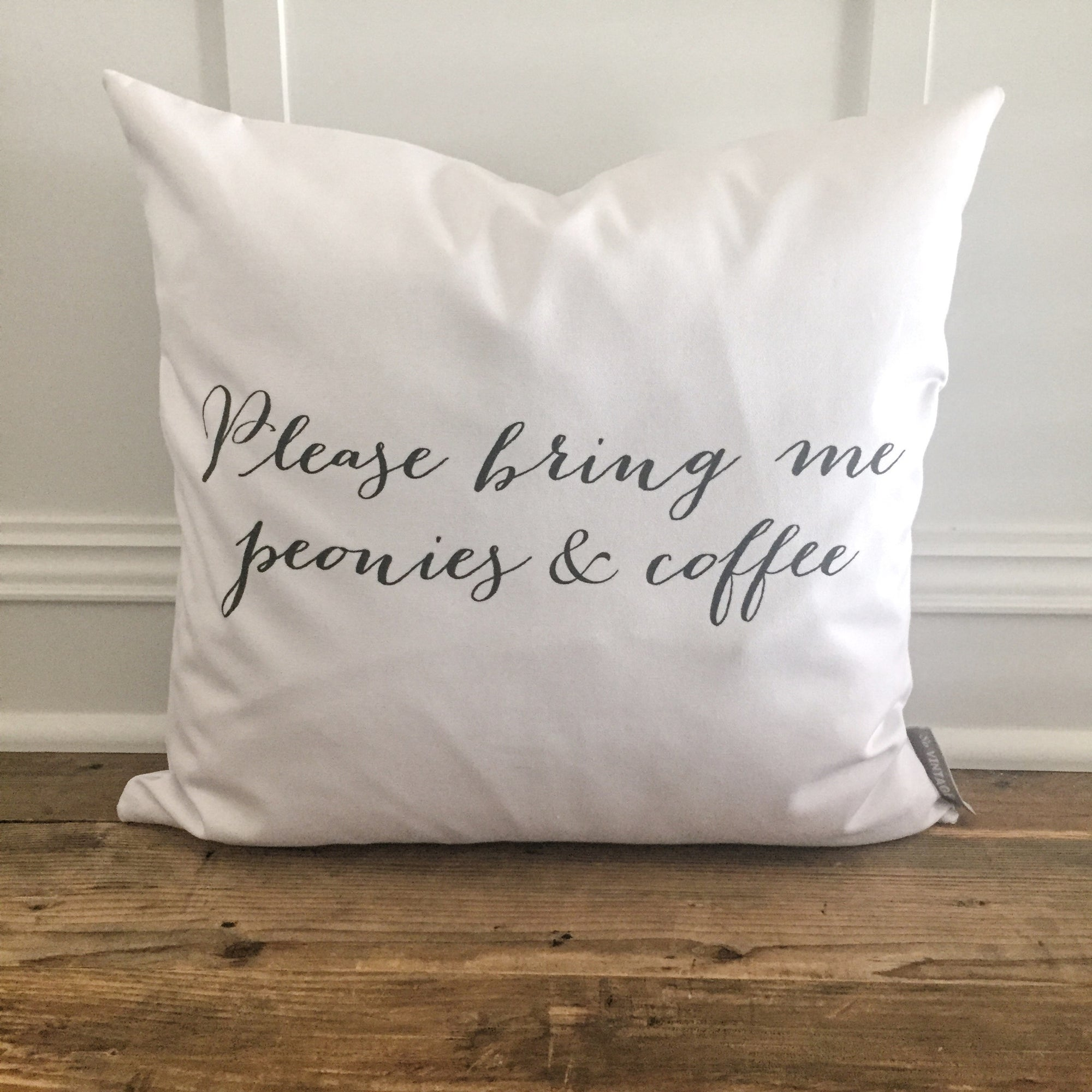Peonies & Coffee Pillow Cover - Linen and Ivory