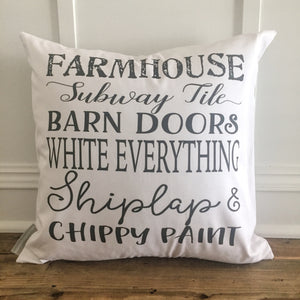Farmhouse Pillow Cover - Linen and Ivory
