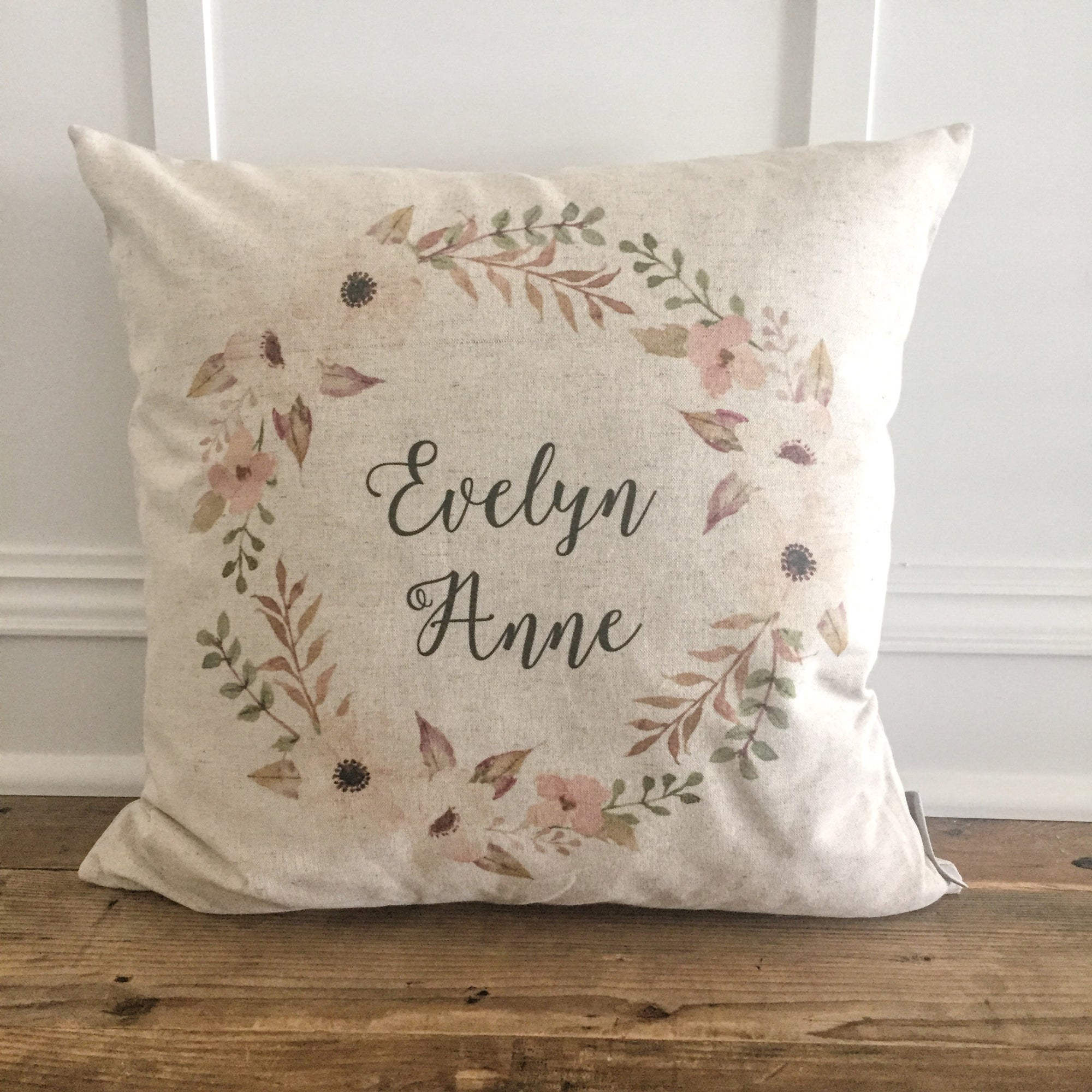Custom Name Floral Wreath Pillow Cover - Linen and Ivory