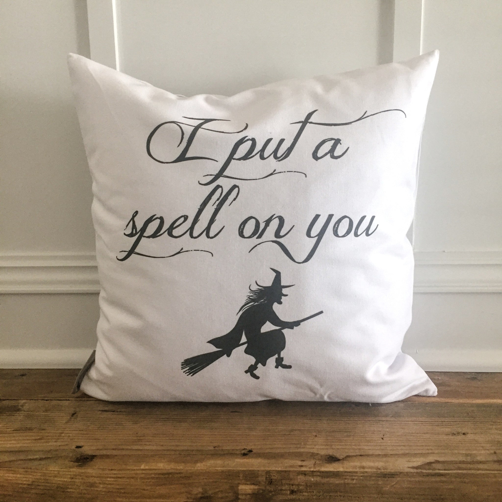 witch spell halloween pillow cover - linen and ivory