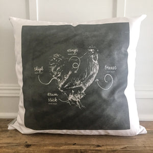 Chalkboard Chicken Pillow Cover - Linen and Ivory