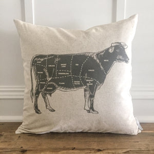Cow Label Pillow Cover - Linen and Ivory