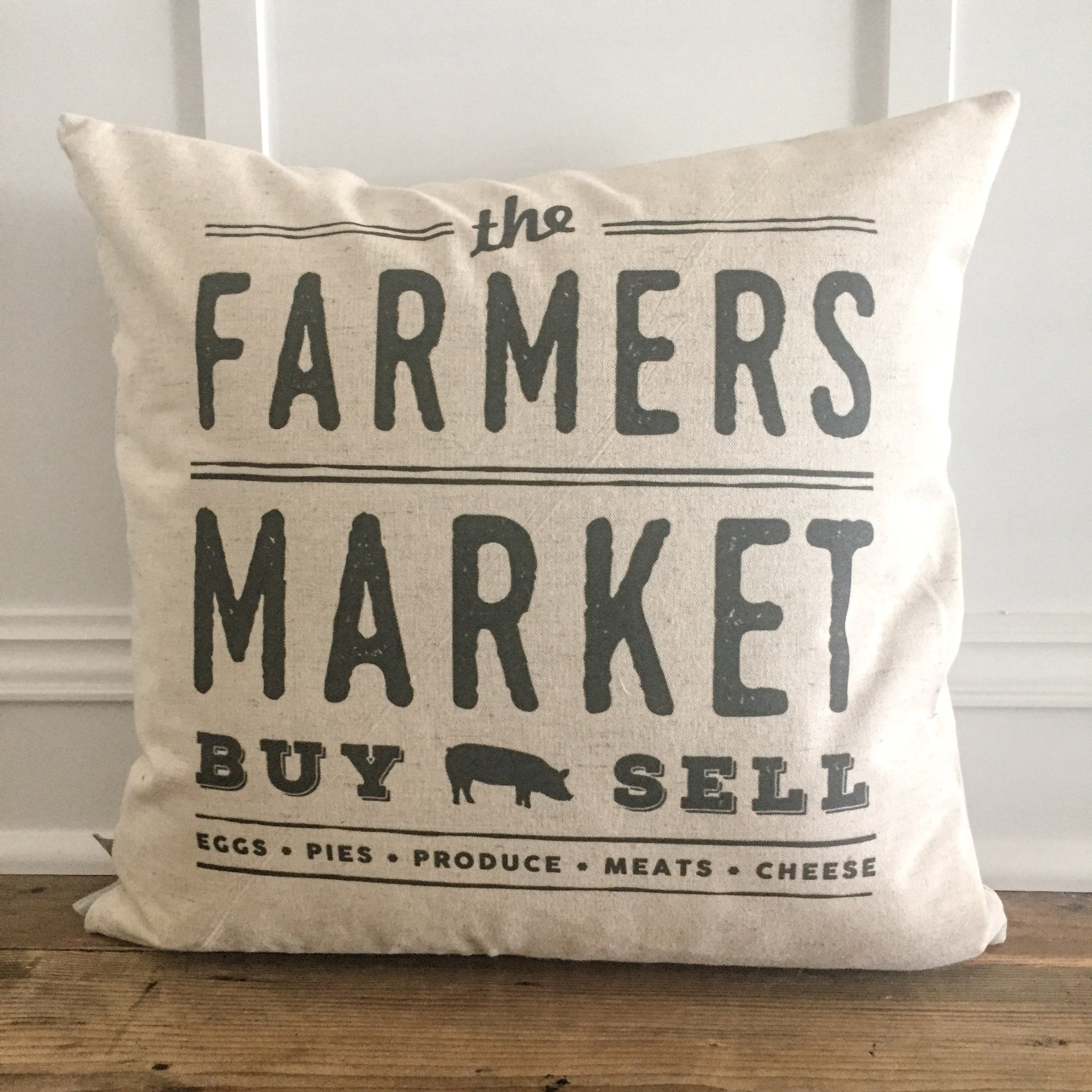 Farmer's Market Buy/Sell Pillow Cover - Linen and Ivory