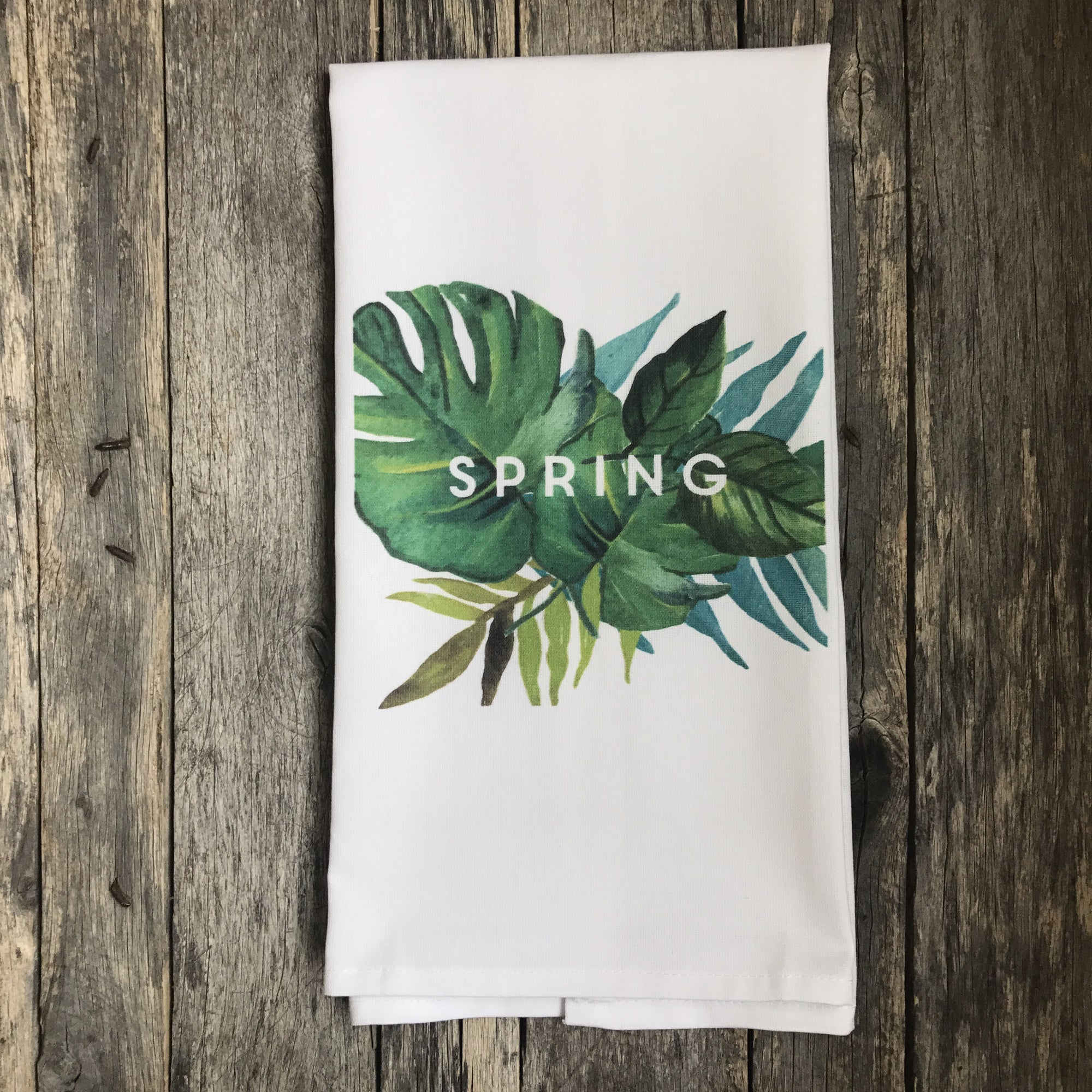 Palm Branch Spring Tea Towel - Linen and Ivory