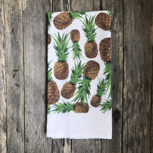 Pineapple Pattern Tea Towel - Linen and Ivory