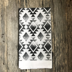 Aztec Tea Towel (Design 6) - Linen and Ivory
