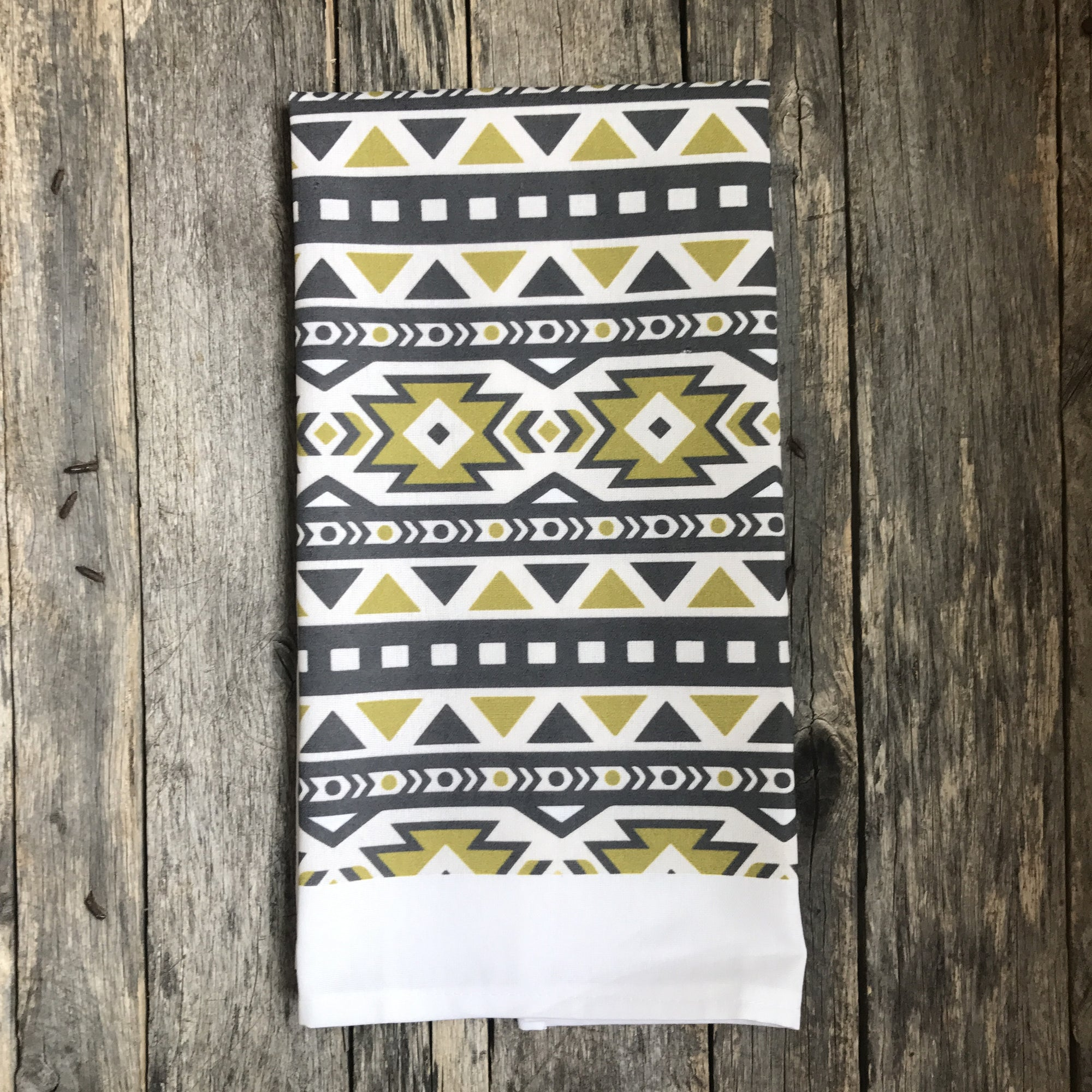 Aztec Tea Towel (Design 7) - Linen and Ivory