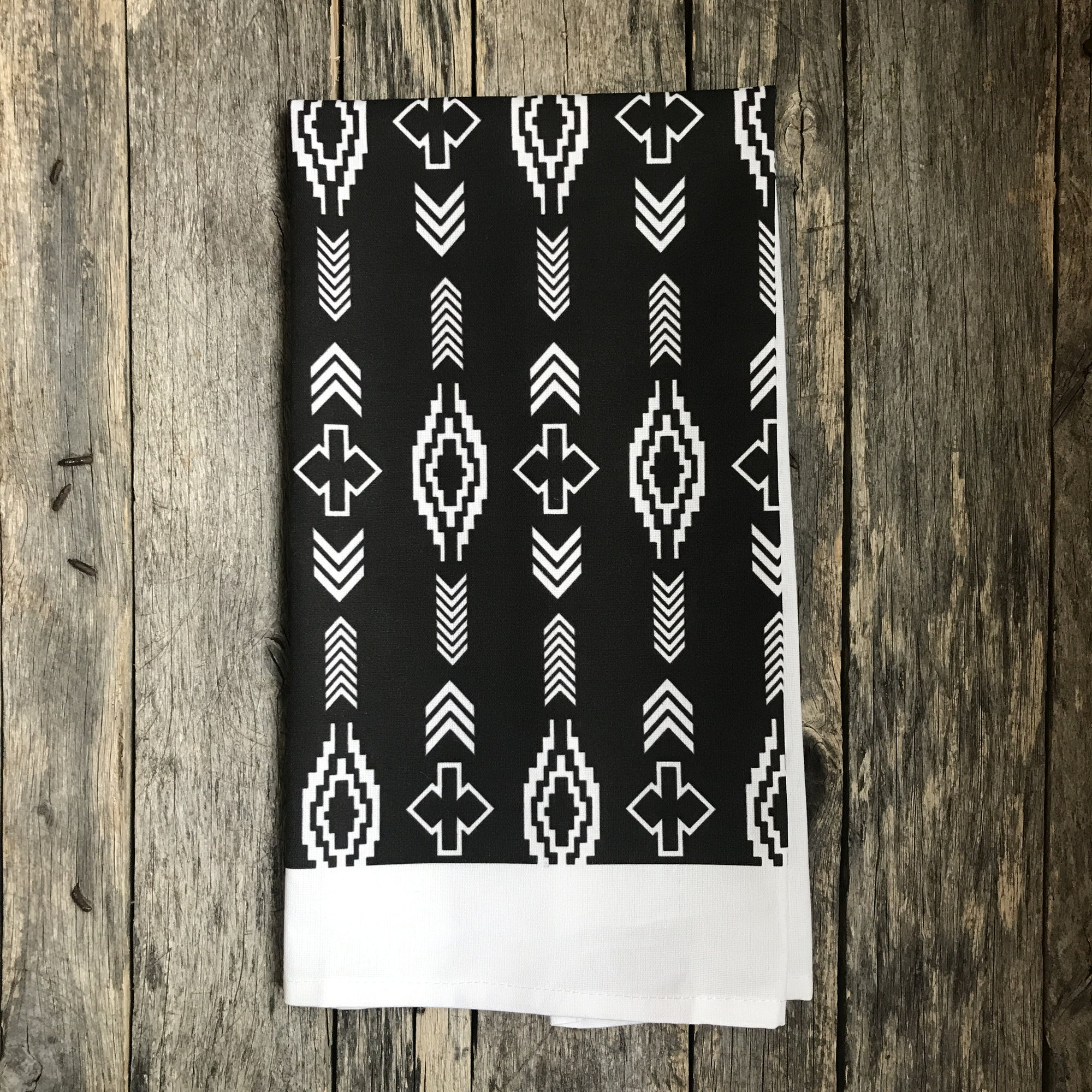 Aztec Tea Towel (Design 2) - Linen and Ivory