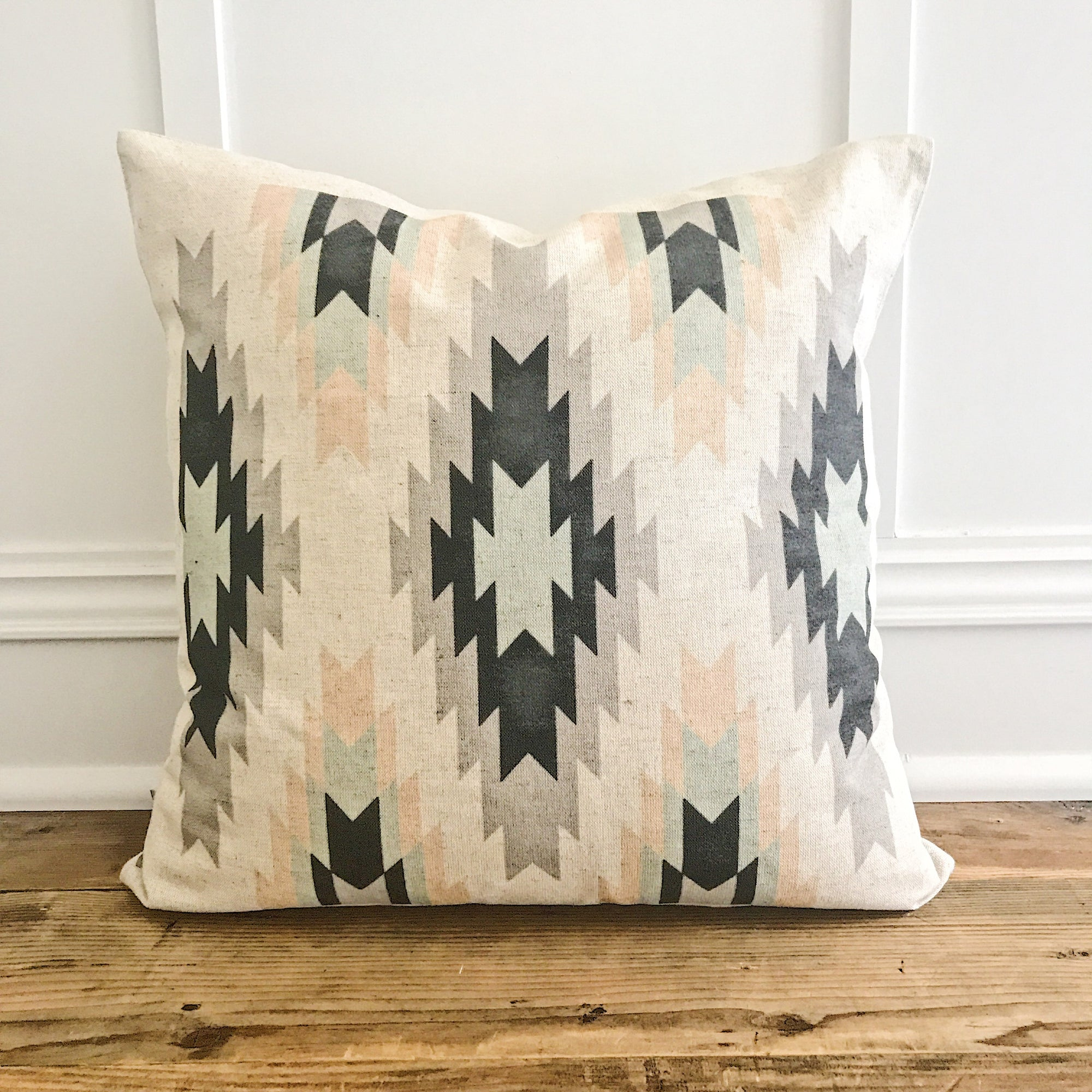 Aztec Pillow Cover (Design 5) - Linen and Ivory