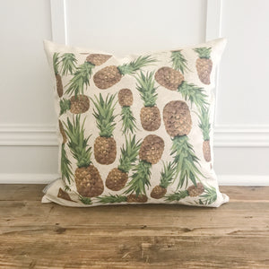 Pineapple Pattern Pillow Cover - Linen and Ivory