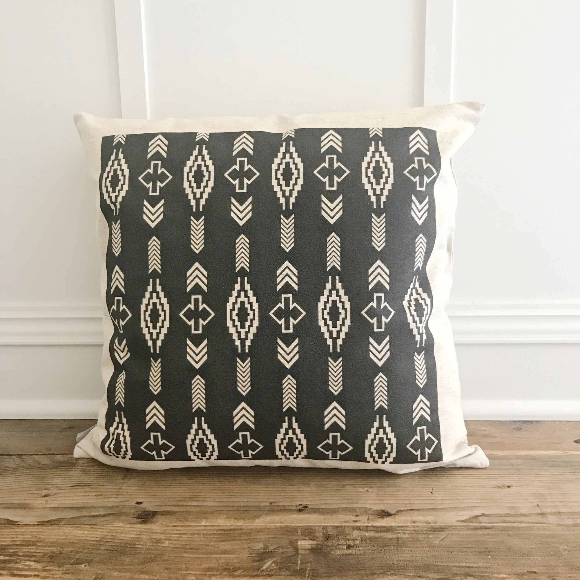 Aztec Pillow Cover (Design 2) - Linen and Ivory