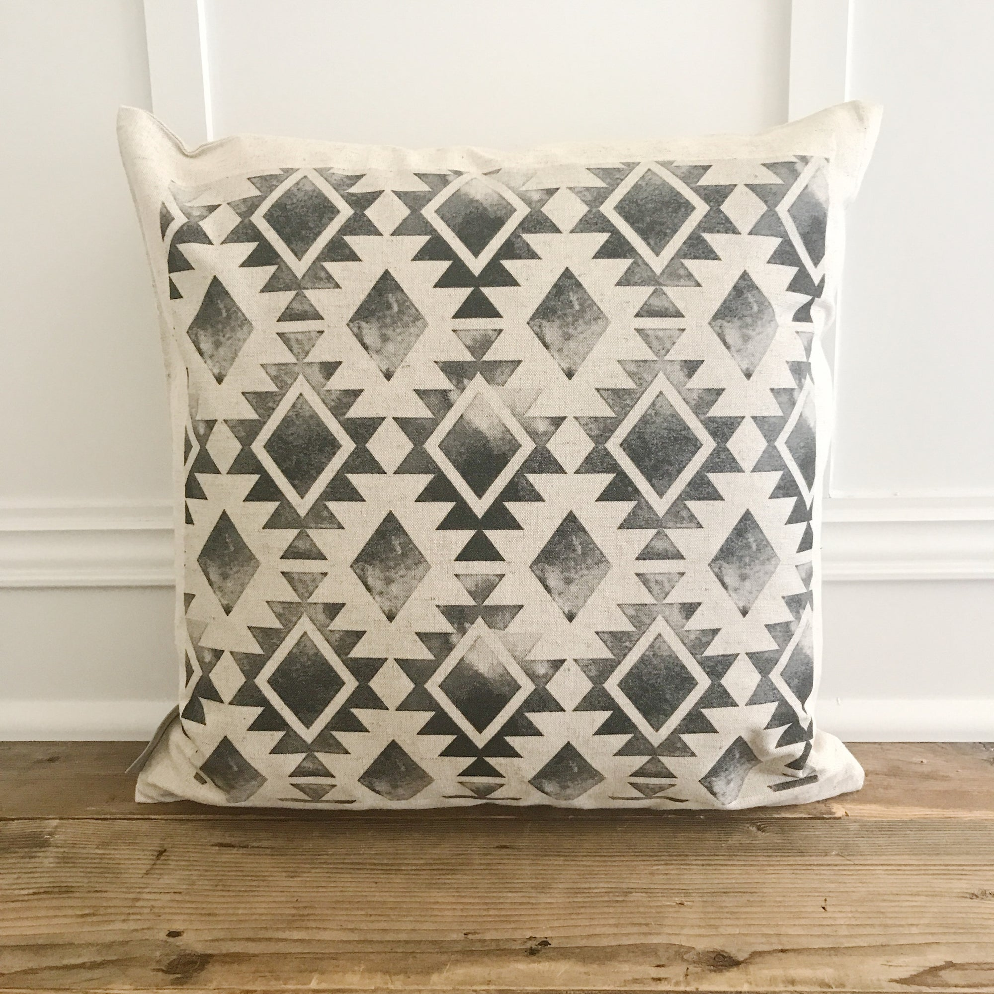 Aztec Pillow Cover (Design 6) - Linen and Ivory