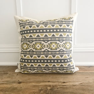 Aztec Pillow Cover (Design 7) - Linen and Ivory