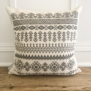 Aztec Pillow Cover (Design 9) - Linen and Ivory