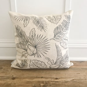 Black & White Palm Pillow Cover (Design 1) - Linen and Ivory