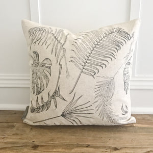 Black & White Palm Pillow Cover (Design 2) - Linen and Ivory