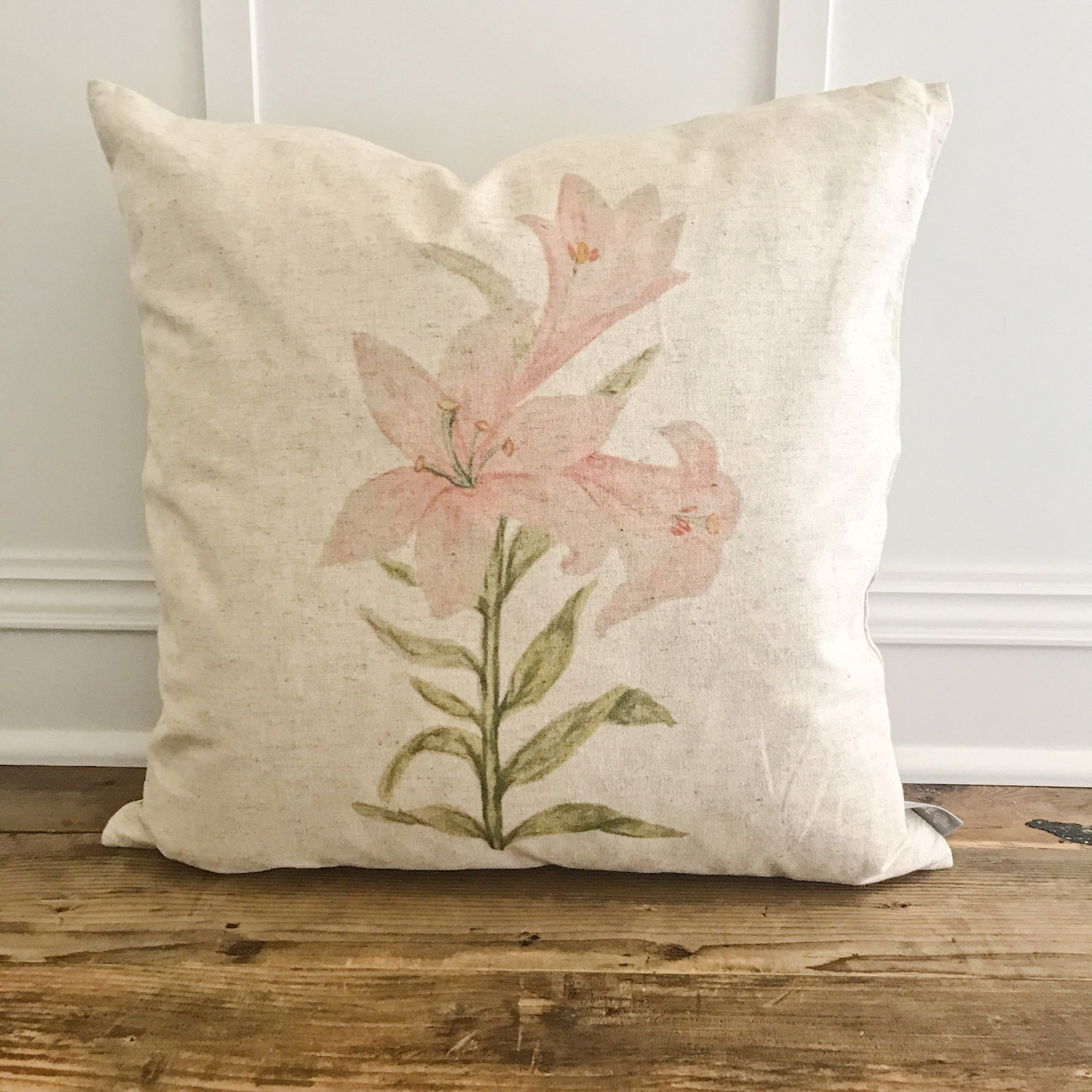 Watercolor Easter Lily Pillow Cover - Linen and Ivory