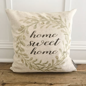 Olive Wreath Home Sweet Home Pillow Cover - Linen and Ivory