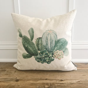 Cactus Pillow Cover - Linen and Ivory