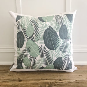 Palm Branches Pillow Cover (Design 2) - Linen and Ivory