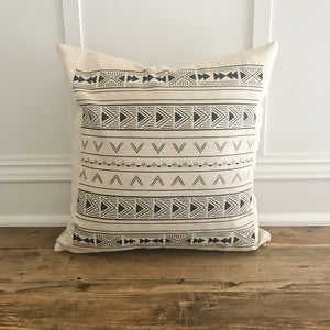 Aztec Pillow Cover (Design 1) - Linen and Ivory