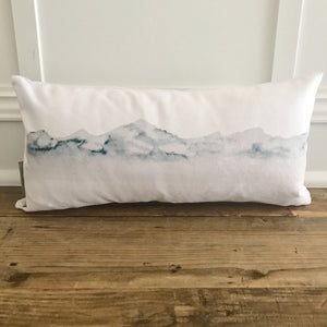 Watercolor Mountain Pillow Cover - Linen and Ivory