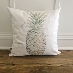 Watercolor Pineapple Pillow Cover - Linen and Ivory