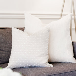 """Loretta"" Swiss Dot Pillow Cover-House on 77th Collection - Linen and Ivory"