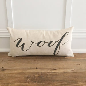 """Woof"" Dog Pillow Cover - Linen and Ivory"