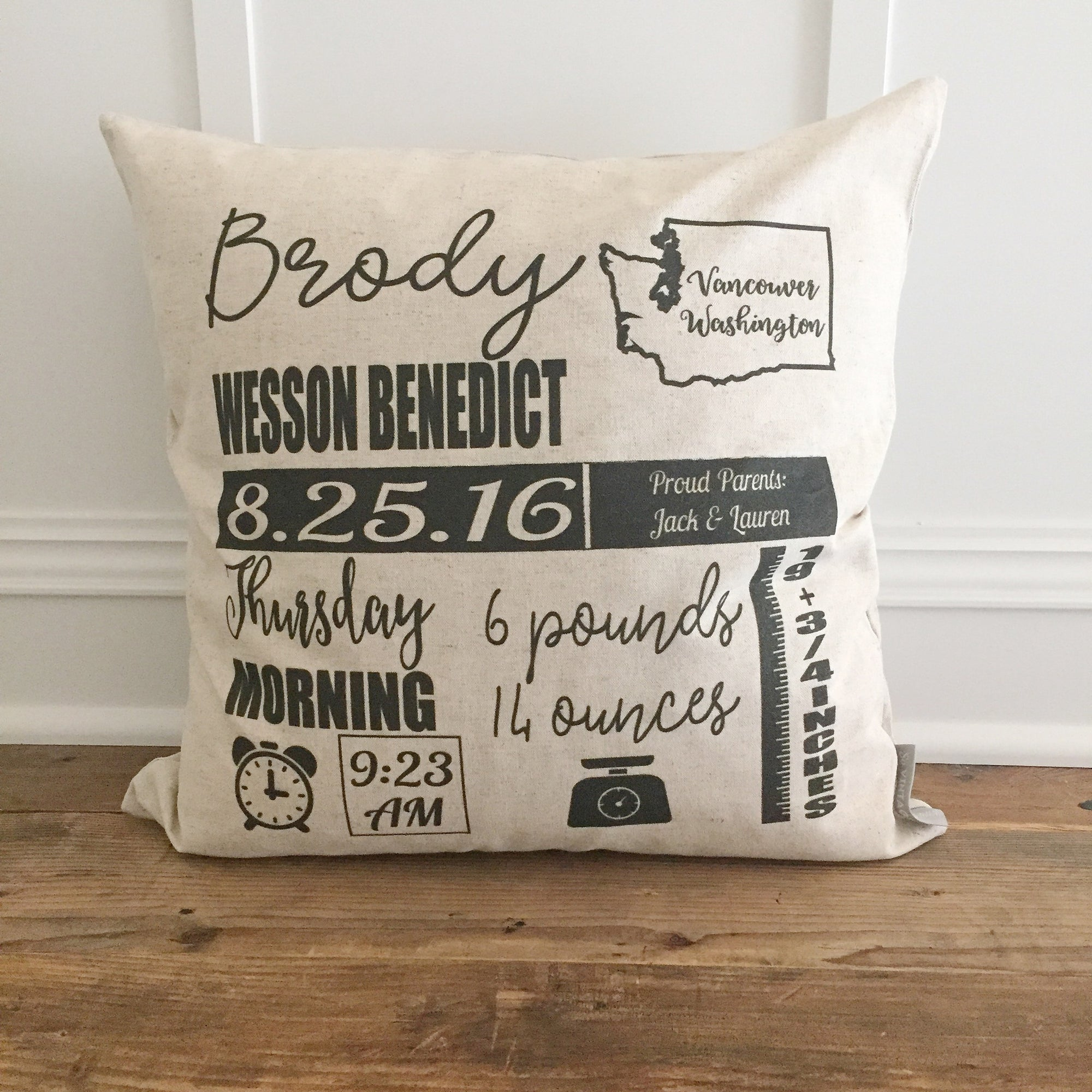 Icon Birth Announcement Pillow Cover - Linen and Ivory