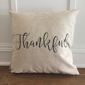 Thankful Pillow Cover - Linen and Ivory