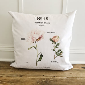 Peony Botanical Pillow Cover (Design 1) - Linen and Ivory