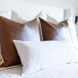 """Harlow"" Faux Leather Pillow Cover - Linen and Ivory"