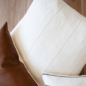 """Brooklyn"" Authentic African Mud cloth Pillow Cover - Linen and Ivory"