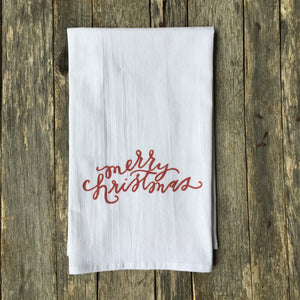 Merry Christmas Tea Towel - Linen and Ivory