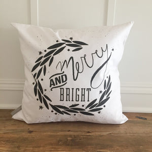 Merry & Bright Wreath Pillow Cover (Black) - Linen and Ivory