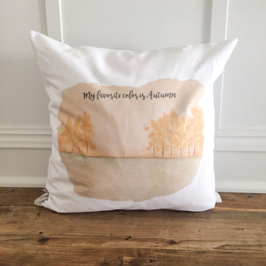 Autumn Scene Pillow Cover - Linen and Ivory