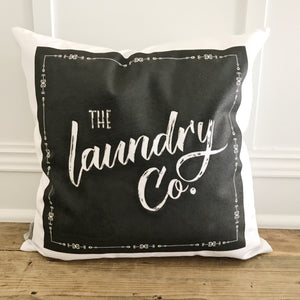 Laundry Co. Pillow Cover (Black) - Linen and Ivory