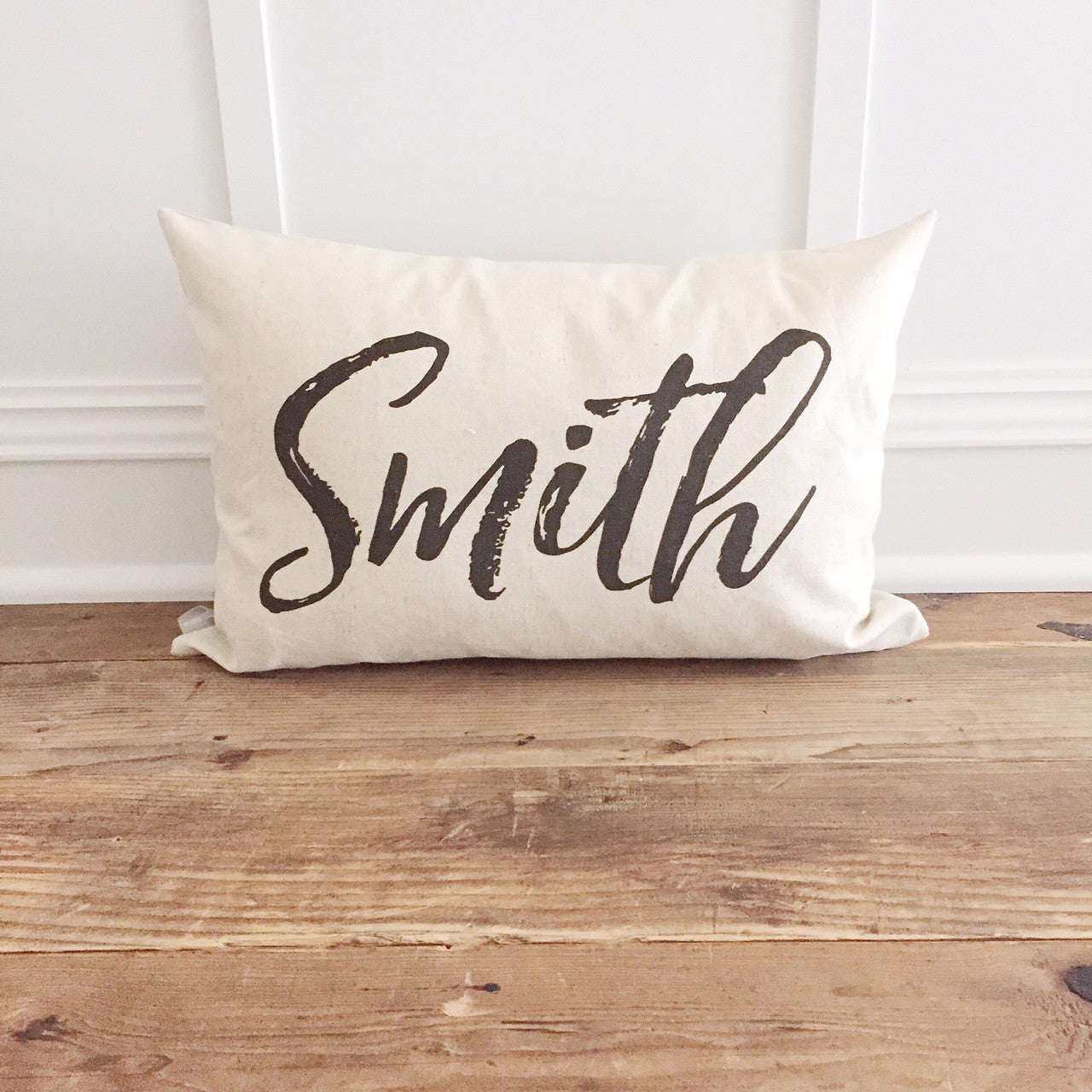 Custom Name Pillow Cover - Linen and Ivory