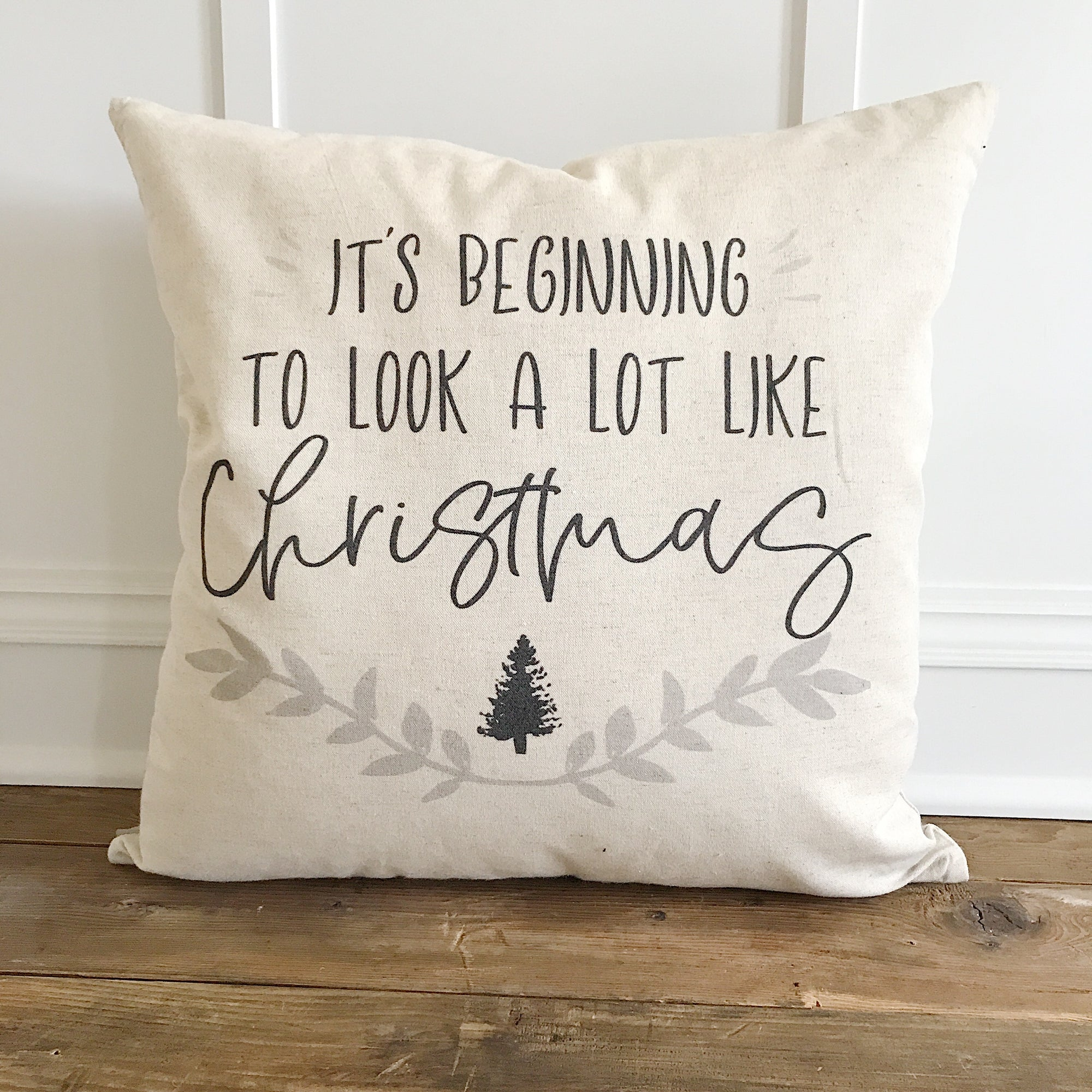 It's Beginning to look a lot like Christmas Pillow Cover - Linen and Ivory