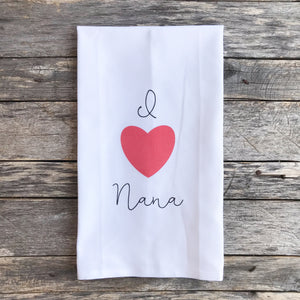 I Heart Nana Tea Towel - Linen and Ivory