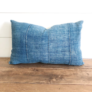 """Audrey"" Indigo (Lightest) Authentic African Mud cloth Pillow Cover - Linen and Ivory"
