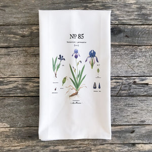 Iris Botanical Tea Towel - Linen and Ivory