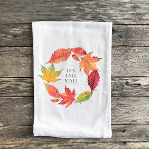 It's Fall Y'All Tea Towel - Linen and Ivory