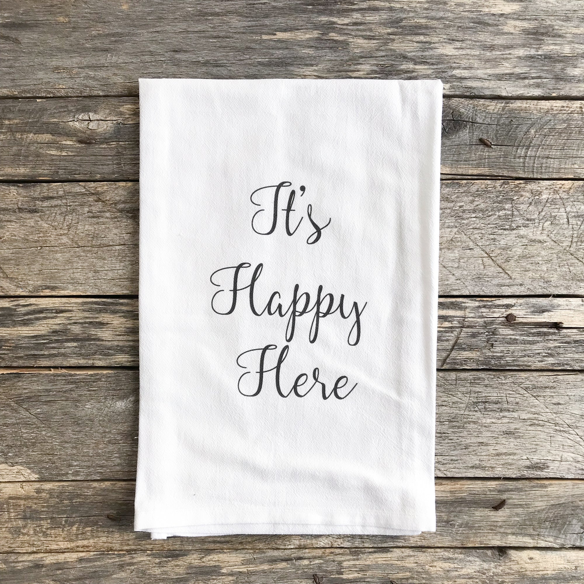 It's Happy Here Tea Towel - Linen and Ivory