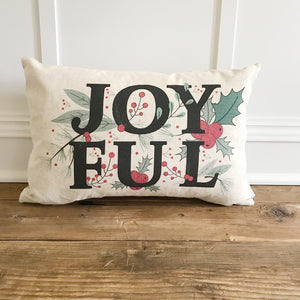 Joyful Pillow Cover - Linen and Ivory