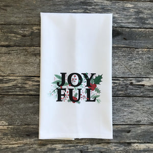 Joyful Tea Towel - Linen and Ivory