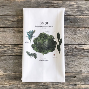 Kale Botanical Tea Towel - Linen and Ivory