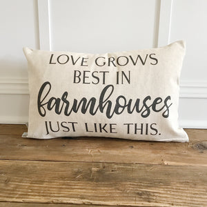 Love Grows in Farmhouses Pillow Cover - Linen and Ivory