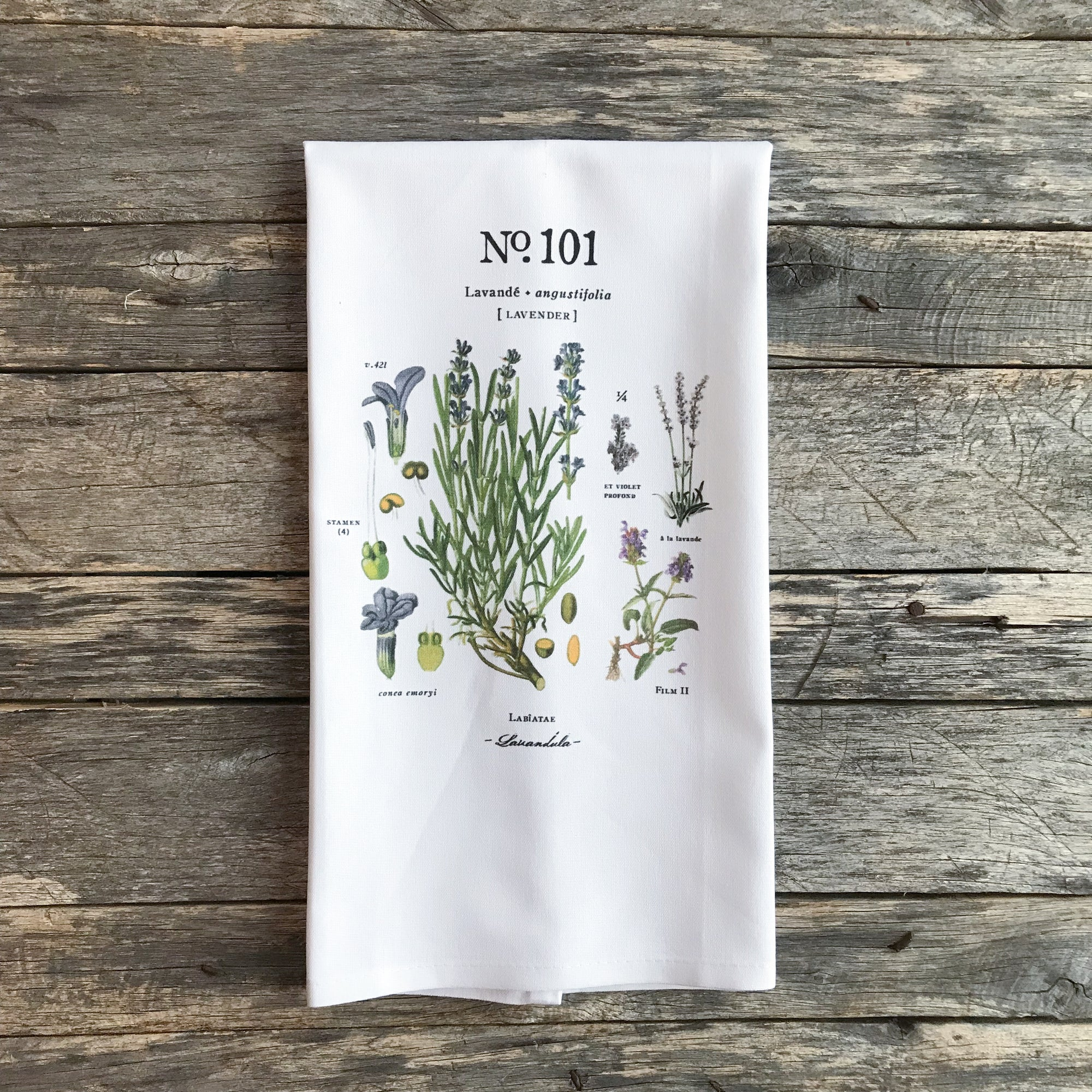 Lavender Botanical Tea Towel - Linen and Ivory